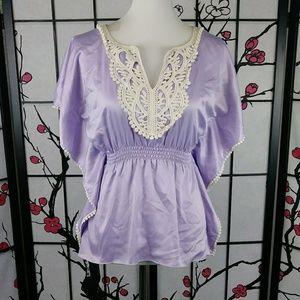 🌼 BCX Satin Crochet Boho Top Lavendar Caftan